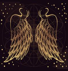 golden wings on purple background design element vector image