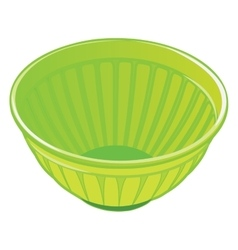 Green plastic salad bowl vector image