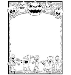 halloween frame with zombiesskulls and pumpkins vector image