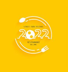 Happy new year 2022 logo street food festival vector