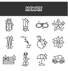 Hawaii flat icons set vector