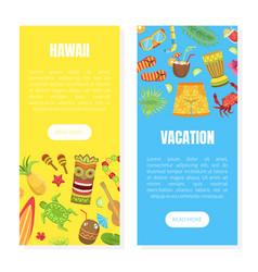 hawaii vacation landing page templates set summer vector image