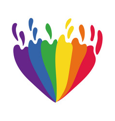 heart with gay pride flag hand draw style vector image