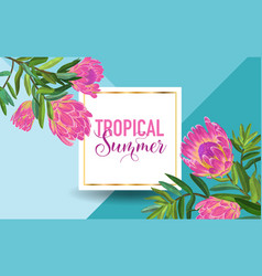 Hello summer tropical design floral vintage vector
