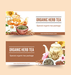 Herbal tea banner design with chamomile peach vector
