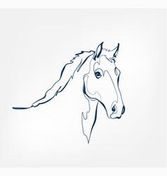 Horse animal wild one line design vector