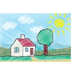House with front yard vector image
