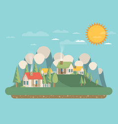 houses flat style mountains and trees vector image