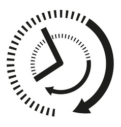 icon clock hands in black and white vector image