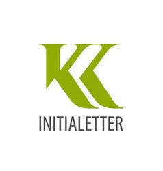 Initial letter kk green logo concept design vector