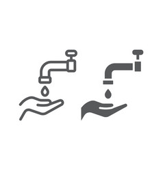 Islamic wudu line and glyph icon arabic vector