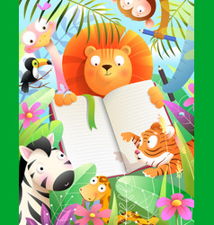 Jungle animals at school study draw write or read vector