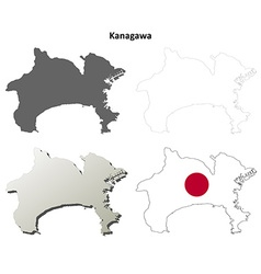 Kanagawa blank outline map set vector