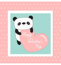 Kawaii panda baby bear Happy Valentines Day White vector