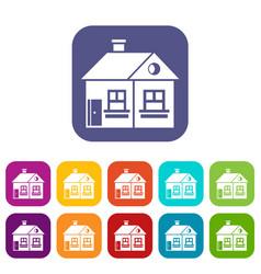 Large single-storey house icons set vector
