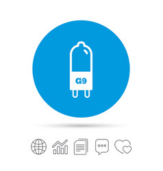 Light bulb icon lamp g9 socket symbol vector