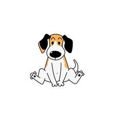 little cartoon beagle dog sitting on floor vector image