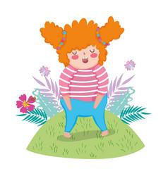 Little chubby girl in the landscape vector