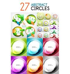 mega set of swirl circles abstract vector image vector image