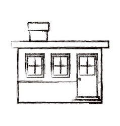 Monochrome blurred silhouette small house facade vector