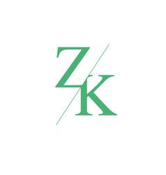 Monogram letters z k logo design template vector