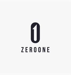 monogram zero and one logo icon template vector image