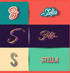 Name stella in various retro graphic design vector