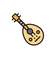 Oud arab traditional music instrument flat color vector