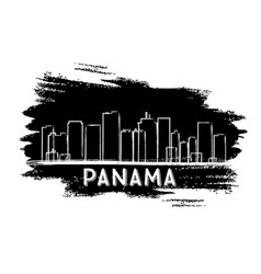Panama skyline silhouette hand drawn sketch vector
