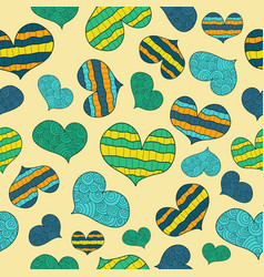 pattern with bluegreenyellow abstract hearts vector image