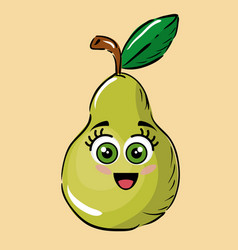 pear fruits comic characters vector image