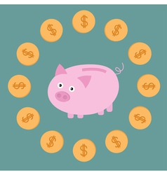 Pink piggy bank and dollar coins Card vector