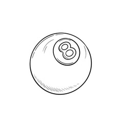 pool eight ball hand drawn outline doodle icon vector image
