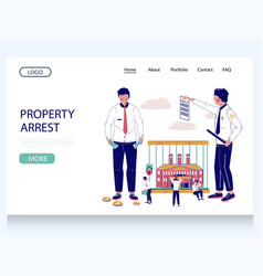 Property arrest website landing page vector
