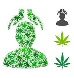 Psychiatry hands mosaic of hemp leaves vector