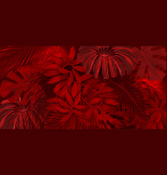 Red rainforest pattern vector