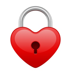 Red shiny heart lock shape vector