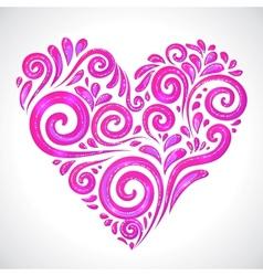 Rose shining heart on white background vector