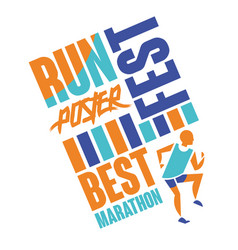 Run fest poster template for sport event vector