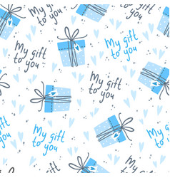 seamless background for boy with cute gifts vector image