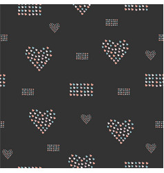 seamless pattern hand drawn hearts in brush vector image