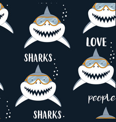 Seamless pattern with sharks isolated on black vector