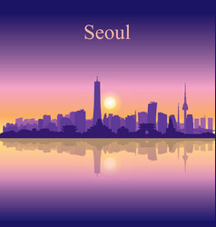 Seoul city silhouette on sunset background vector