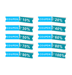 set coupons discount banner 10 20 30 40 50 60 vector image