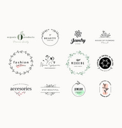 set elegant signs and badges for beauty vector image