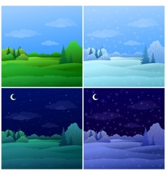 Set forest landscapes vector