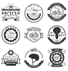 set of bicycle repair shop labels vector image