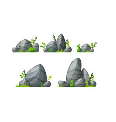 Set of five different stones with grass vector