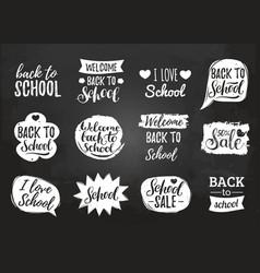 set of vintage back to school in comic vector image