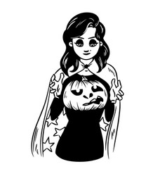 sexy witch holds a pumpkin lantern halloween vector image